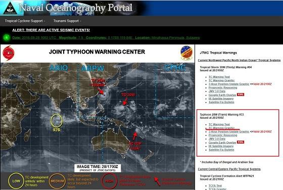 米軍 台風情報の読み方画面