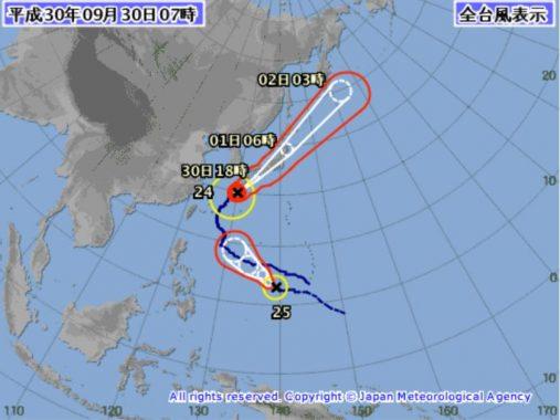 台風24号気象庁の進路予想図