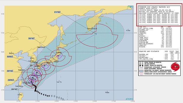 米軍 台風 28号の進路